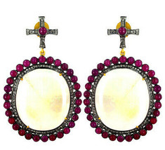 Rainbow Moonstone 14k Gold Pave Diamond Dangle Earrings .925 Silver Ruby Jewelry - $1,730.20