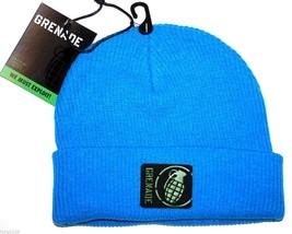 "Grenade ""Max Beanie"" Cuffed Ribbed Knit Winter Hat/Beanie/Toque  Blue - £12.82 GBP"