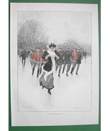 WINTER Skating Officerrs Chase Young Lady - VICTORIAN Era Color Engraving - $13.49