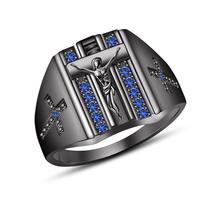 """14k Full Black Gold Filled 925 Pure Silver Blue Sapphire """"CROSS"""" Ring For Men's - $124.59"""