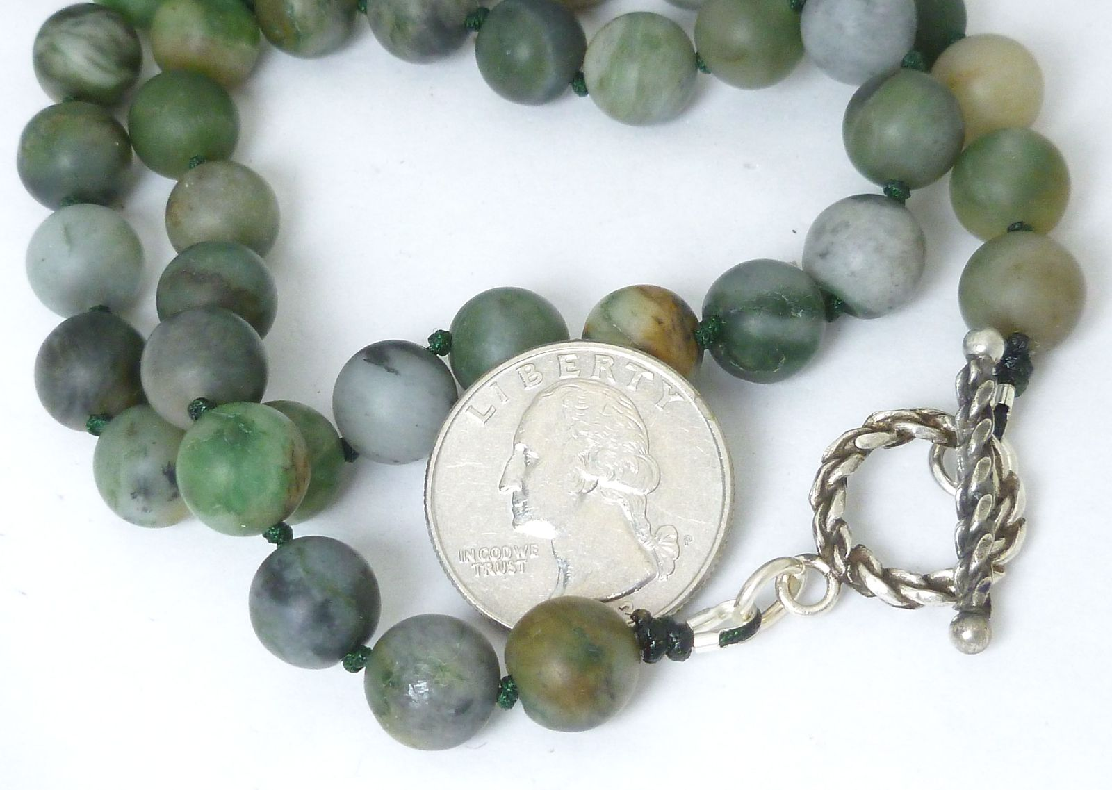 Polar Jade Round Matte 10mm Green Gemstone Necklace 19 inch