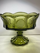 Vintage Fostoria Green Glass Souvenir Pedestal 1887 Collectible Eagle Co... - $48.51