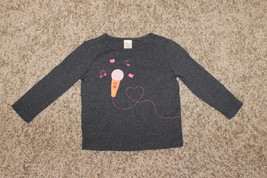 CUTE GYMBOREE GRAY COTTON ICE CREAM LONG SLEEVE T SHIRT TOP EMBROIDERY S... - $2.99