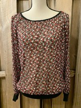 New York & Company Top Womens S Red Black Scoop Neck Long Sleeve Sheer S... - $4.90