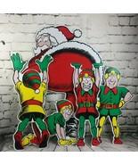 Jumbo Merry Xmas Santa 4 Elves Plastic Outdoor Yard Decor Harriet Carter... - $118.79
