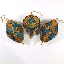 Decorated Jeweled Satin Christmas Ornaments Teal Floral Fabric Velvet Lo... - $24.66
