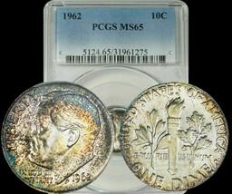 1962 Roosevelt Dime PCGS MS65 Orange/Blue/Violet Toned Coin - $28.98