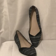 Calvin Klein Womens Pointy Toe Flats Black White Breanna Size 8M - $18.59