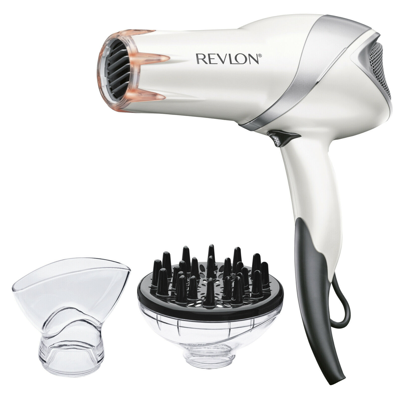Infrared Tourmaline Ionic Hair Dryers, White with Concentrator and Diffuser - $40.17