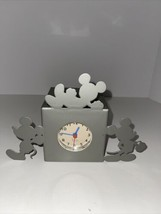 """Disney Mickey Mouse Silhouette Silver Black Metal Cube Clock 6"""" Works - $29.70"""