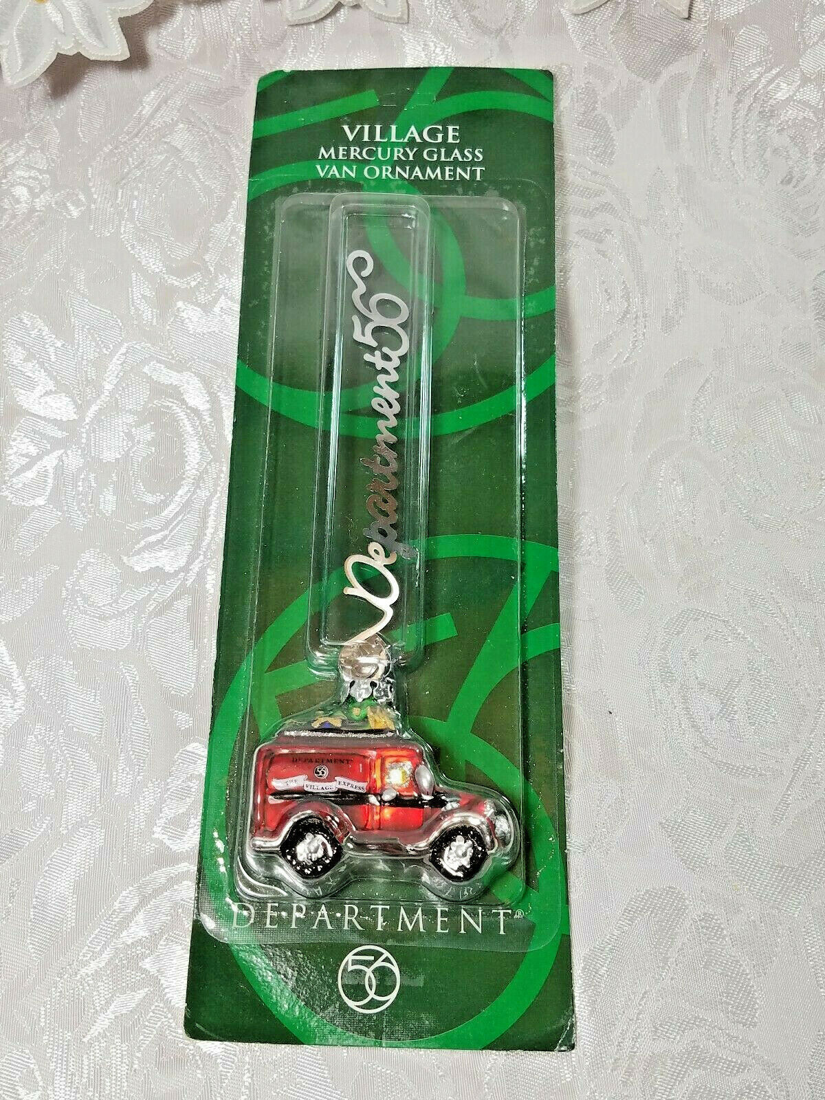 Dept 56 Village Mercury Glass Ornament Red Village Express Van NEW 2001