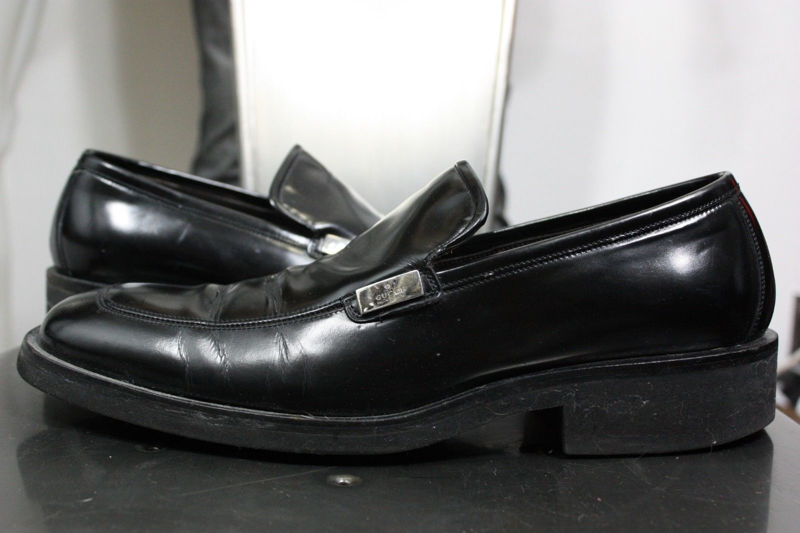 766056391 Gucci patent leather loafers 8 D shoes black vintage 90 s made in Italy