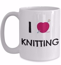 Cute Knitters Gift Coffee Mug for I Love Knitting Mother Aunt Grandma He... - $19.55+
