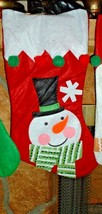 "SNOWMAN Felt - Shimmering sewn fabric CHRISTMAS STOCKING 16""- Fireplace ... - $5.93"