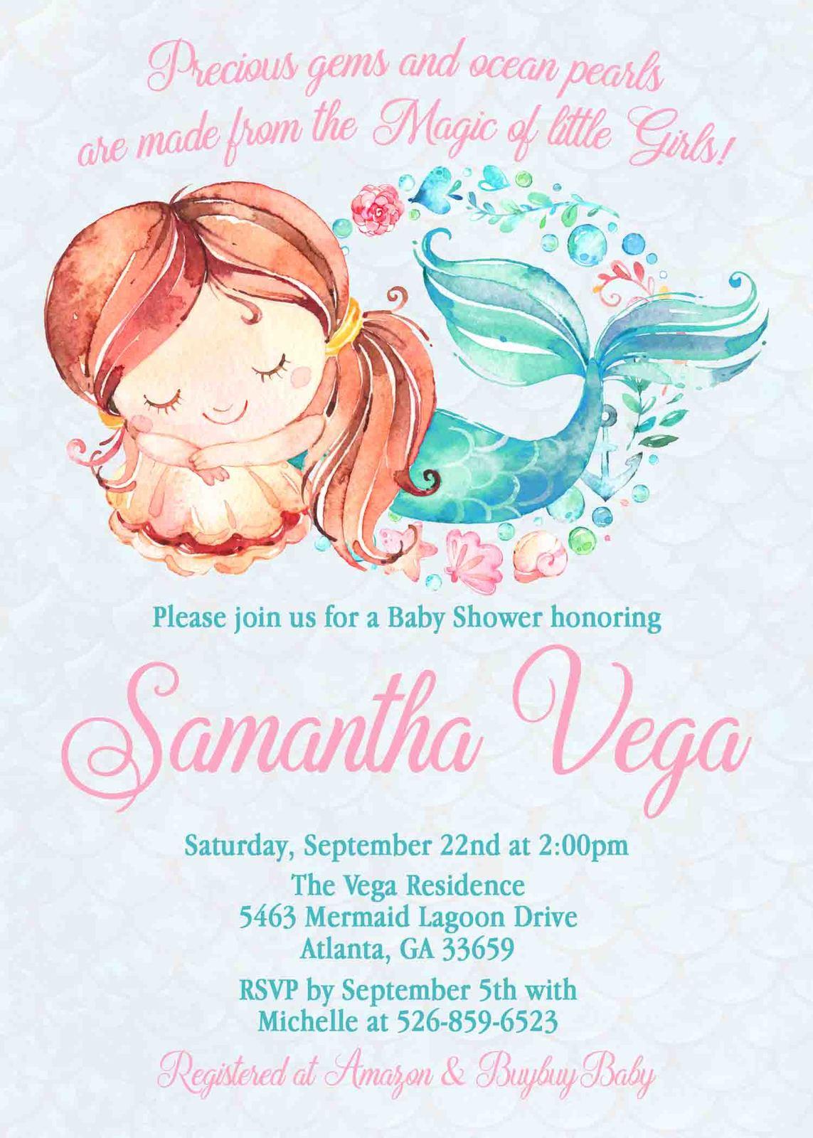 4734579b7 Watercolor Mermaid Baby Shower Invitation and 50 similar items