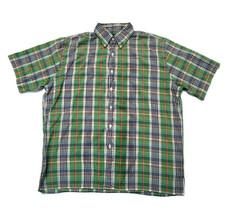Lands' End Shirt Short Sleeve Button-Down 100% Cotton Plaid Size M 15-15.5 - $19.15