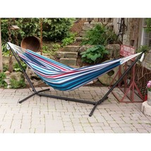 9 ft. Cotton Double Hammock with Stand in Denim - $108.96