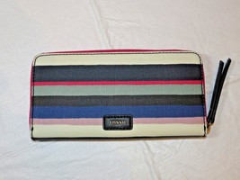 Fossil SWL2034425 Eliza Clutch Blue Multi Stripe coated canvas clutch wa... - $38.11