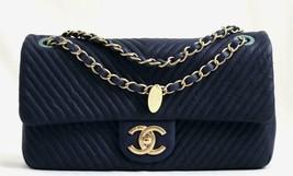 CHANEL Blue Chevre Leather Medium Medallion Charm Chevron Flap Bag AUTHE... - $3,190.33