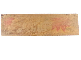Antique Pyrography Wood Tie Box Victorian Woman and Flowers Wooden Box B... - $34.99