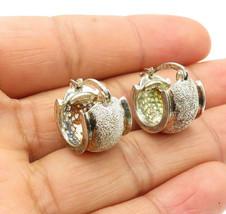 925 Sterling Silver - Vintage Textured Raised Edge Round Huggie Earrings... - $27.21