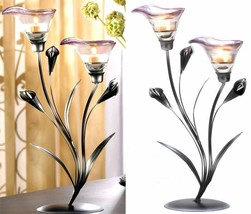 2 Calla Lily Flower Tealight Candle Holder Glass Iron Home Decor SL 13919 - $33.18