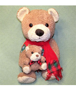 "16"" 1999 Kids Preferred TEDDY BEAR + BABY CUB Patch RED SCARF Vintage Pl... - $29.70"