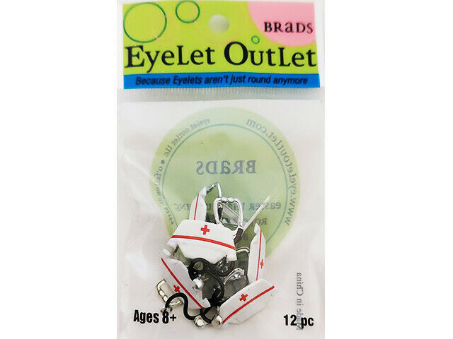 Eyelet Outlet Nurse Hat and Stethoscope Brads, 12 Pieces