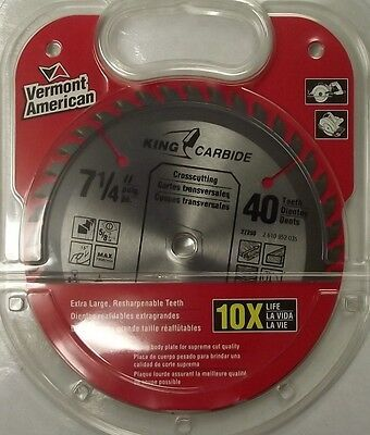 """Vermont American 27250 7-1/4"""" x 40 Tooth Carbide Saw Blade - $10.89"""