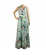 Grace Karin Maxi Dress 8 Med Green Floral Fit Flare Pleated Bodice Long ... - $22.24