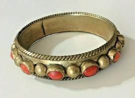 Vintage Luisa Conti Antique Brass Orange Gemtones Bangle Bracelet Jewelry  - $29.69