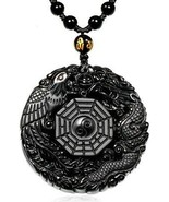 MOHICO Dragon Obsidian Pendant Necklace, Dragon And Phoenix Natural Obs... - $40.42