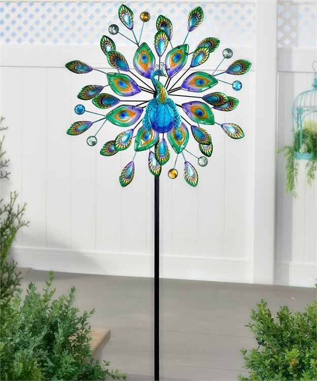 "74"" Blue Skies Peacock Design Wind Spinner Garden Stake Iron & Colored Glass NEW"