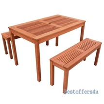 Outdoor Dining Picnic Table 2 Benches Set Garden Backyard Patio Wooden F... - $322.67