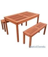 Outdoor Dining Picnic Table 2 Benches Set Garden Backyard Patio Wooden F... - $322.67