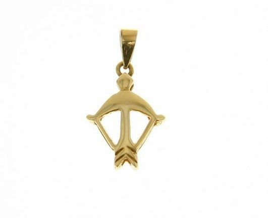 18K YELLOW GOLD ZODIAC SIGN PENDANT ZODIACAL CHARM SAGITTARIUS MADE IN ITALY