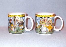 Sakura Debbie Mumm Garden Vignette 2 Mugs Cups 1999 Birdseed, Rabbit Hat - $8.99