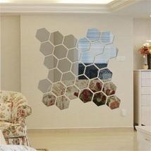 12 Loaded Hexagonal Mirror Acrylic Wall Stickers Diy Art Home Decorations - $8.05