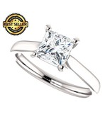 1.00 Carat Ideal Cut Princess Diamond Solitaire Ring in 14k Gold  - $2,495.00