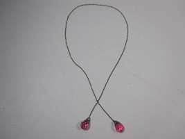"""Vintage 1940's Faceted Bead Lariat Necklace 18"""" Decorative Chain Pink Beads - $15.79"""