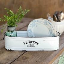 Farmhouse FLOWER and GARDEN LONG WHITE BIN Country Primitive Enamel Garden - $41.99