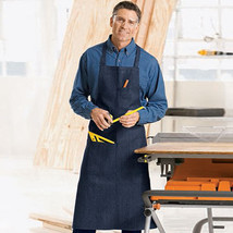 1 COMMERCIAL GRADE NAVY BLUE DENIM APRON WITH 1 PEN AND HAND POCKET - $6.39