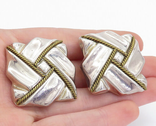 Primary image for MEXICO 925 Silver  - Vintage Two Tone Rope Twist Non Pierce Earrings - E9975