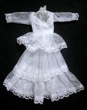 Vintage Barbie Doll Clothes Superstar Era White Wedding Dress Layered La... - $6.92