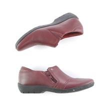 Clarks Artisan Burgundy Loafers Slip On Shoes Flats Zipper Womens 5.5 - $39.44