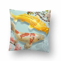 Two Japanese Koi Fish Swimming Throw Pillow Case Decorative Cushion Cover - $17.29