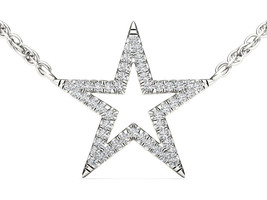 IGI Certified 10k White Gold 0.12 Ct Natural Diamond Star Pendant Necklace - $179.99