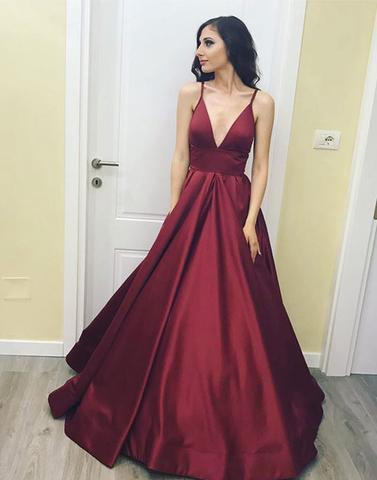Simple v neck long prom dresses, cheap evening dresses,BD2406