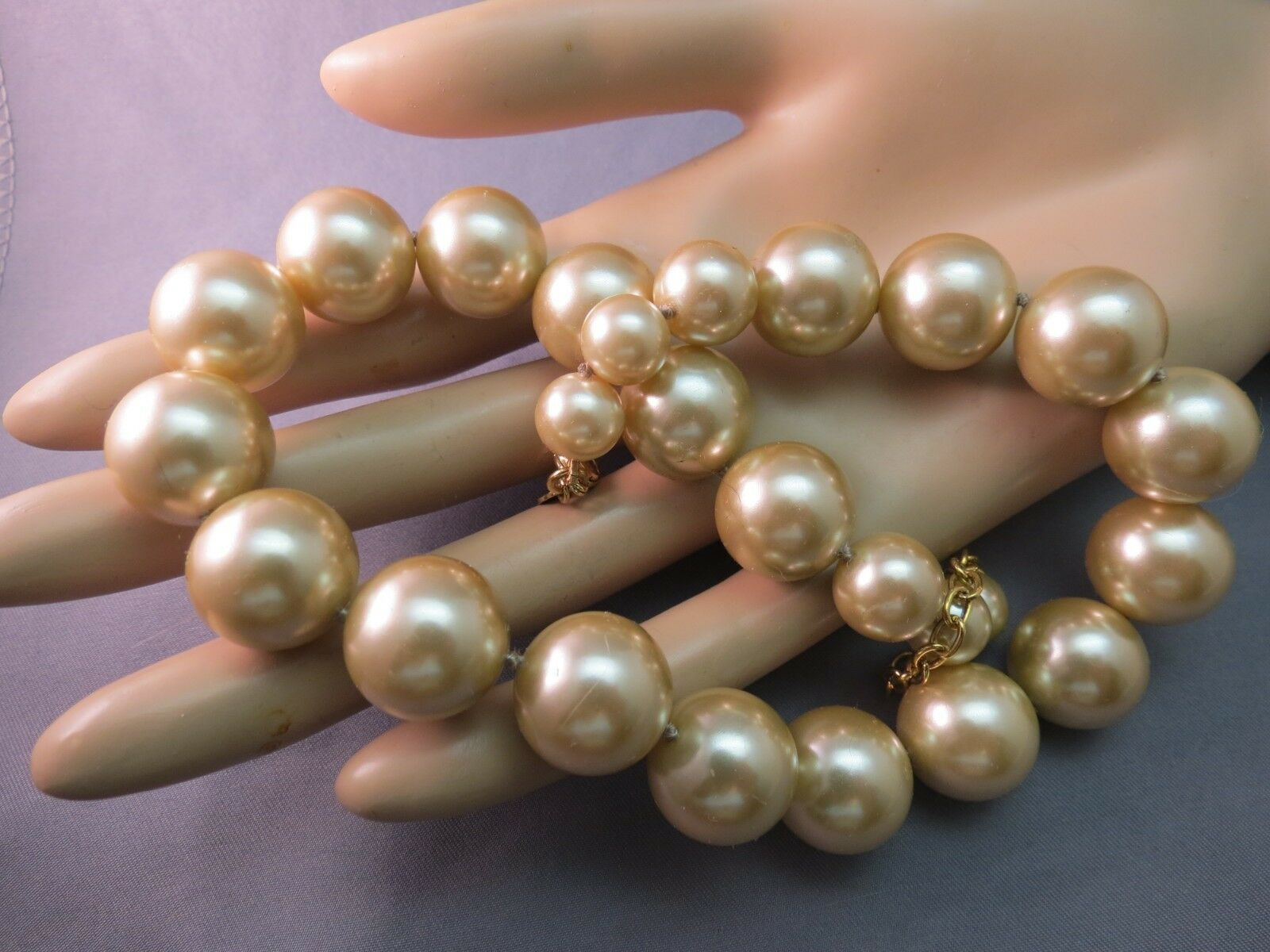 VTG Monet Big Pearl Necklace Hand Knotted Sable Cream Lobster 16mm Glass Beads