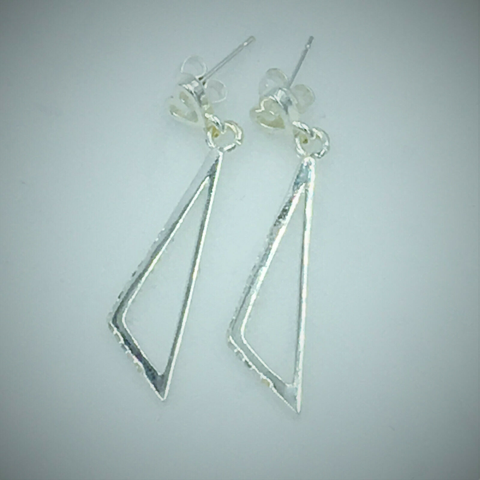 Primary image for Triangle Dangle Earrings with CZ Stones 925 Sterling Silver NEW